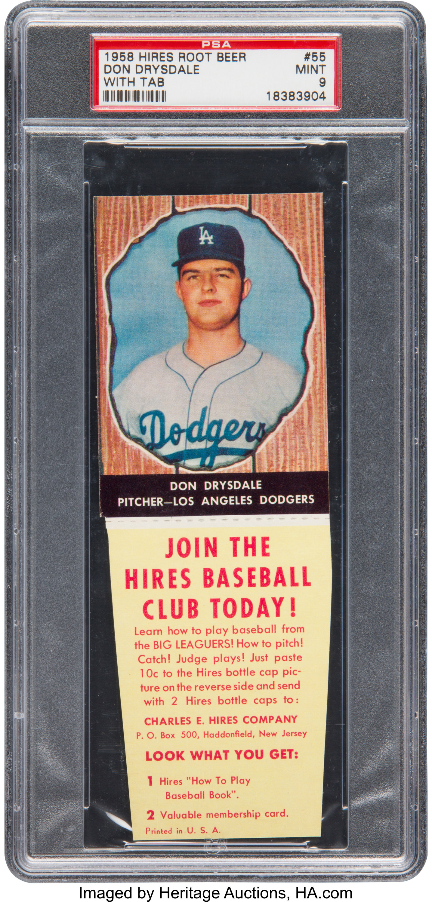 1958 Hires Root Beer Don Drysdale 55 Psa Mint 9 Pop Three