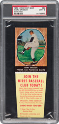 Baseball Cards:Singles (1950-1959), 1958 Hires Root Beer Marv Grissom #64 PSA Mint 9 - Pop Two, NoneHigher. ...