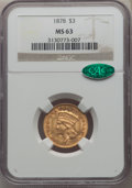 Three Dollar Gold Pieces, 1878 $3 MS63 NGC. CAC....