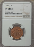 Proof Two Cent Pieces: , 1865 2C PR64 Red and Brown NGC. NGC Census: (22/43). PCGS Population: (59/58). CDN: $700 Whsle. Bid for problem-free NGC/PC...