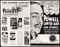"Lawyer Man (Warner Brothers, 1933). Uncut Pressbook (Multiple Pages, 11"" X 17""). Drama"