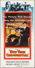 "Movie Posters:Crime, New York Confidential (Warner Brothers, 1955). Three Sheet (41"" X78.5""). Crime.. ..."