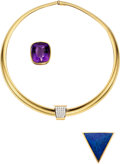 Estate Jewelry:Necklaces, Diamond, Multi-Stone, Gold Necklace, Barbara Westwood . ... (Total: 4 Items)