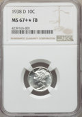 1938-D 10C MS67+★ Full Bands NGC. NGC Census: (177/5 and 1/0*+). PCGS Population: (344/14 and 5/0* and 22/0+). CDN: $250...