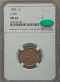 1859 P1C Indian Cent, Judd-228, Pollock-272, R.1, MS62 NGC. CAC. NGC Census: (10/103). PCGS Population: (19/256). ...(PC...