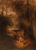 Fine Art - Painting, European:Antique  (Pre 1900), Oswald Achenbach (German, 1827-1905). Gardens and fountain ofthe Villa Torlonia, Frascati, Rome, 1881. Oil on canvas. 5...