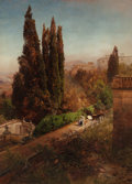Fine Art - Painting, European:Antique  (Pre 1900), Oswald Achenbach (German, 1827-1905). View from high in thegardens of Villa Torlonia, Frascati, Rome, 1881. Oil on canv...