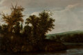 Fine Art - Painting, European:Antique  (Pre 1900), Cornelis Hendricksz. Vroom (Dutch, 1500-1600). A wooded riverlandscape with a horseman, circa 1623-4. Oil on cradled pa...