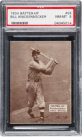 Baseball Cards:Singles (1930-1939), 1934-36 Batter-Up Bill Knickerbocker #58 PSA NM-MT 8 - None Higher. ...
