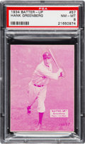 Baseball Cards:Singles (1930-1939), 1934-36 Batter-Up Hank Greenberg #57 PSA NM-MT 8 - None Higher. ...
