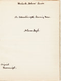 "Autographs:Authors, Arthur Conan Doyle Autograph Manuscript ""The Adventure of theDancing Men"" Signed Three Times...."