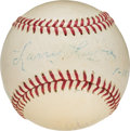 "Baseball Collectibles:Balls, 1958 Napoleon ""Larry"" Lajoie Signed and Inscribed Baseball...."