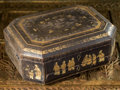 Asian:China Trade, A Chinese Export Partial Gilt and Black Lacquered Sewing or WritingBox, 19th century. 6 h x 14 w x 10 d inches (15.2 x 35.6...