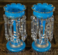 Decorative Arts, French:Other , A Pair of French Blue Opaline Glass Lustres, late 19th century. 9inches high (22.9 cm). ... (Total: 2 Items)