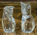 Art Glass:Daum, Two Daum Crystal Cat Figures, Nancy, France, late 20th century.Marks: Daum, France. 9-1/2 inches high (24.1 cm). 10-1/2...(Total: 2 Items)
