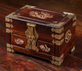 Asian:Chinese, A Chinese Mahogany and Mother-of-Pearl Inlaid Jewelry Chest,mid-20th century. 9-5/8 h x 14 w x 9-1/4 d inches (24.4 x 35.6 ...