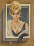 Fine Art - Painting, American:Contemporary   (1950 to present)  , Margaret Keane (American, b. 1927). Portrait of Zsa ZsaGabor . Oil on canvas. 21-1/4 x 17-1/8 inches (sight). Signedlo... (Total: 2 Items)