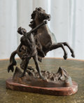 Decorative Arts, Continental:Other , A Patinated Metal Allegorical Group of a Man with Horse. 10-3/4 h x10 w x 5 d inches (27.3 x 25.4 x 12.7 cm). ...