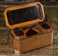 Other, A George III Inlaid Mahogany Tea Caddy, circa 1810. 6-1/8 h x 12 w x 5-7/8 d inches (15.6 x 30.5 x 14.9 cm). ...