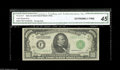 """Small Size:Federal Reserve Notes, Fr. 2212-F $1000 1934A Federal Reserve Note. CGA Extremely Fine 45. A lightly circulated """"Florida Find"""" example in a CGA Ex..."""