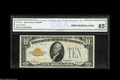 Small Size:Gold Certificates, Fr. 2400 $10 1928 Gold Certificate. CGA Gem Uncirculated 65. A broadly margined note certified as to its Gem status by CGA....