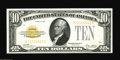 Small Size:Gold Certificates, Fr. 2400 $10 1928 Gold Certificate. Crisp Uncirculated. Nice in appearance, but the bottom margin is a trifle close and the...
