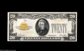 Small Size:Gold Certificates, Fr. 2402 $20 1928 Gold Certificate. Choice Crisp Uncirculated. Brightly colored but lacking the centering to merit a higher...
