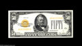 Small Size:Gold Certificates, Fr. 2404 $50 1928 Gold Certificate. Gem Crisp Uncirculated. A lovely example displaying great color and full originality. T...