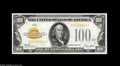 Small Size:Gold Certificates, Fr. 2405 $100 1928 Gold Certificate. Choice Crisp Uncirculated. Unusually well centered for this issue, and a scarce note i...