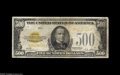 Small Size:Gold Certificates, Fr. 2407 $500 1928 Gold Certificate. Fine. A much in demand type and denomination which is almost never offered in this gra...