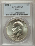 Eisenhower Dollars, 1971-S $1 Silver MS67 PCGS. This lot will also include a: 1972-S $1 MS67 PCGS. ... (Total: 2 coins)