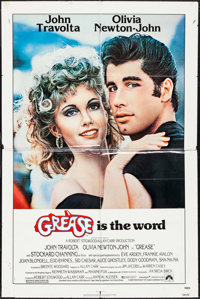 "Grease (Paramount, 1978). Lobby Cards (4) (11"" X 14"") & One Sheet (27"" X 41""). Musical..."