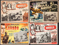 """Movie Posters:War, Sahara & Other Lot (Peliculas Agrasanchez, R-1950). MexicanLobby Cards (3) (Approximately 16.5"""" X 12.75"""") & TrimmedMexican... (Total: 4 Items)"""