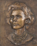 Bronze:Contemporary, A Zsa Zsa Gabor Japanese Bronze Portrait Plaque, circa 1958. 12inches high x 9-3/8 inches wide (30.5 x 23.8 cm). ...