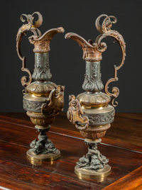 A Pair of French Baroque-Style Patinated and Gilt Bronze Ewers, late 19th-early 20th century 27 inches high (68.6
