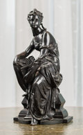 Decorative Arts, French:Other , A French Patinated Bronze Female Figure Depicting a ClassicalAllegory of History, late 19th century. 14-5/8 h x 7 w x 6 d i...