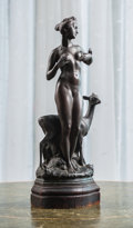 Bronze:European, Julius Drexler (German, 1870-1927). Woman with Goat. Bronzewith brown patina. 13-1/2 inches (34.3 cm) high. Inscribed t...