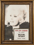 American:Academic, A Zsa Zsa Gabor Group of Marketing Items, Circa 1960s-1991.. Twototal; the first a framed wooden marquee sign featuring an ...(Total: 2 Items)