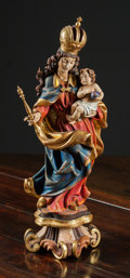 Decorative Arts, Continental:Other , An Italian Carved and Polychromed Ecclesiastical Altar PieceDepicting Madonna and Child, late 19th-early 20th century. 29-1...