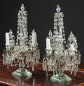 Decorative Arts, French:Other , A Pair of Cut-Glass Four-Light Girandoles Possibly by Baccarat,19th century. 26 h x 16 w x 12 d inches (66.0 x 40.6 x 30.5 ...(Total: 2 Items)