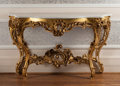 Furniture , A Louis XVI-Style Giltwood Console Table with Carrara Marble Top, 20th century. 35-1/2 h x 59 w x 20 d inches (90.2 x 149.9 ...