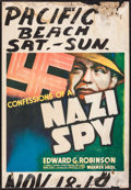 "Movie Posters:Drama, Confessions of a Nazi Spy (Warner Brothers, 1939). Trimmed WindowCard (14"" X 20""). Drama.. ..."