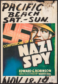 "Confessions of a Nazi Spy (Warner Brothers, 1939). Trimmed Window Card (14"" X 20""). Drama"