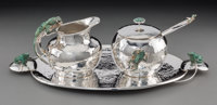 A Four-Piece Emilia Castillo Silver-Plated and Malachite Partial Tea Service with Frog Motif, Taxco, Mexico, late 20t
