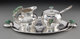 A Four-Piece Emilia Castillo Silver-Plated and Malachite Partial Tea Service with Frog Motif, Taxco, Mexico, late 20th c...