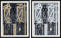 RETNA (American, b. 1979) Eastern Realm (Two Works), 2014 Screenprints in colors on paper 24-1/4