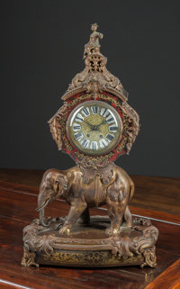 A Louis XV-Style Chinoiserie Gilt Bronze and Boulle Elephant Mantle Clock, 19th century 30-3/4 h x 18 w x 10-3/4 d