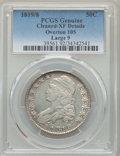 Bust Half Dollars, 1819/8 50C Large 9, O-105, R.2, -- Cleaning -- PCGS Genuine. XF Details. NGC Census: (5/17). PCGS Population: (1/9). XF40....