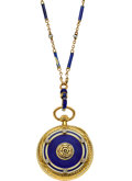 Timepieces:Pendant , Longines Gold, Enamel & Diamond Pendant Watch & Chain. ...
