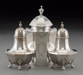 Silver Holloware, American:Tea Caddies, A Goodnow & Jenks Silver Tea Caddy with a Pair of Shakers,Boston, Massachusetts, circa 1900. Marks: (G-turtle-J),STERLIN... (Total: 3 Items)